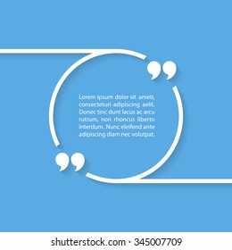Quote text bubble on blue background. Vector illustration.