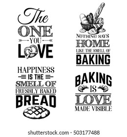 Quote typographical background about bread with hand drawn sketch realistic style illustration of  croissant, pretzel, bread basket. Template for business card poster banner and print for t-shirt.