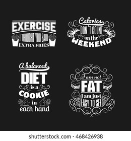 Quote typographical background about food and diet with illustration of hands, ice cream, croissant, cake, french fies and hand drawn elements . Template for business card poster and banner.