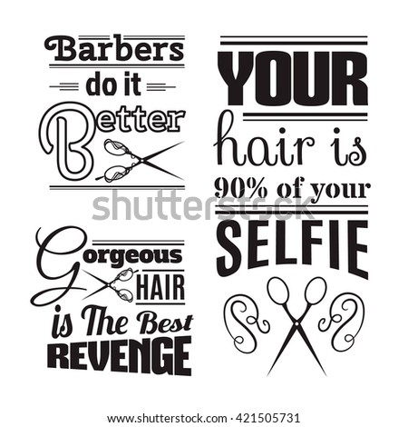 Quote Typographical Background About Hair Barber Image Vectorielle