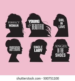 Quote Typographical Background In Female Silhouettes Realistic Style With Haircut Template For Postcard Banner