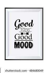 Quote typographical background. Food quote. Good food is good mood.