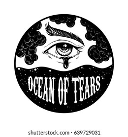 """Quote typographical background """"Ocean of tears"""" . Creative hand drawn  illustration of marine landscape with sad eye with tear. Template for card, poster, banner, print for t-shirt."""