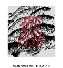 Quote typographical background. Vector hand drawn illustration of fishes made in pointillism style. Template for card, poster, banner, badge and pin.