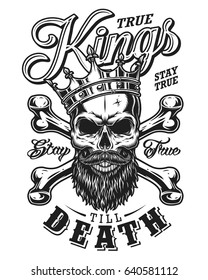 quote typography with black and white king skull in crown with beard on white background
