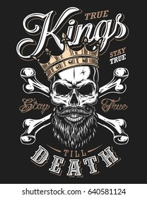 quote typography with black and white king skull in golden crown with beard on dark background
