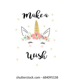 Quote unicorn card/ background in vector