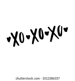 Quote - xo xo xo. Valentine lettering love collection. Hand drawn lettering with beautiful text about love. Perfect for valentine day, wedding and birthday card, stamp