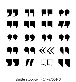 Quotemark vector set. Quotes marks speech punctuation excerpt, punctuation double comma. Quotation remark button set