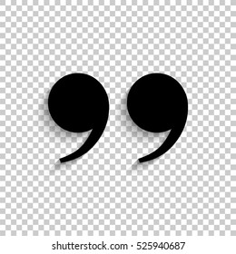 quotes - black vector  icon with shadow