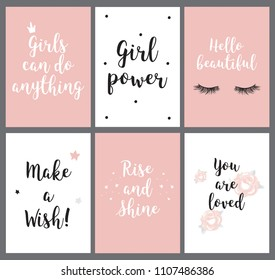 Quotes for girl power, hello beautiful, make wish, love you are loved, can do anything, room decor