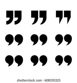Quotes icon set. Quotation mark black isolated symbols, vector illustration.