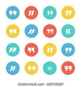 Quotes icon vector set on a white background. Signs for quotation, excerpts or statements. Quote marks button in flat style.