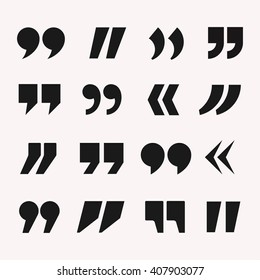 Quotes icon vector set. Quote marks black symbol  isolated from background.