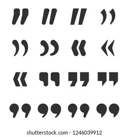 Quotes icons. Quote marks comma, speech excerpt remark icon and citation commas or speech quotation mark. Comma and double quotes silhouette isolated vector symbols set
