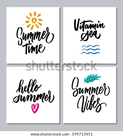 Quotes Phrases About Summer Time Vitamin Stock Vector Royalty Free