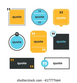 Quotes set. Quote copyspace template. Quote bubble. Business card template. Color quotes. Memo from. Blank memo element. Minimal print design. Quote form. Color vector set