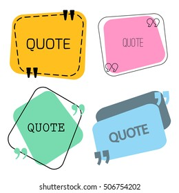Quotes sign and frame set. Vector stock illustration for chat design, text box template, citing block.