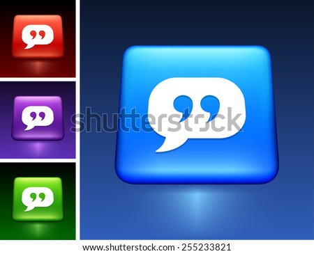 Quotes Speech Bubble On Blue Square Stock Vector (Royalty