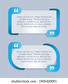 Quotes template in 2 variations - decorative frame block. Creative blue quotation marks and place with sample text, message box - vector typographic block or website element
