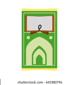 Quran and  green color sajadah icon illustration for ramadan