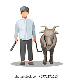 Qurban idul adha. muslim man with goat sacrifice for tradition in eid mubarak in cartoon illustration vector on white background