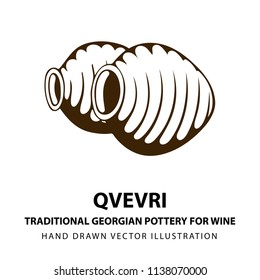 Qvevri. Traditional Georgian pottery for wine. Ancient Georgian handmade clay vessel for wine. Wine theme hand drawn vector illustration.