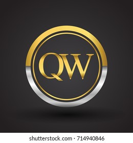 QW Letter logo in a circle, gold and silver colored. Vector design template elements for your business or company identity.