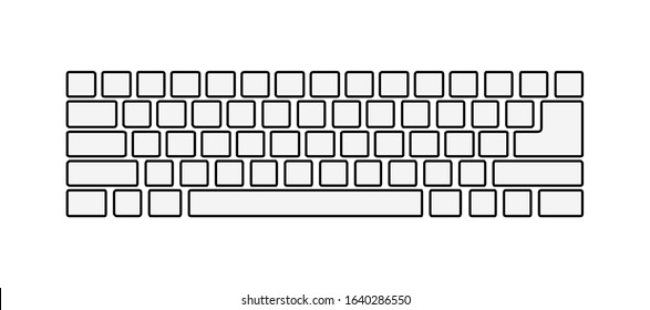 Qwerty Keyboard Layout Vector Outline Isolated on White