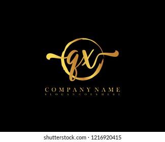 QX initial handwriting logo circle template vector