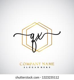 QX Initial Handwriting logo template vector