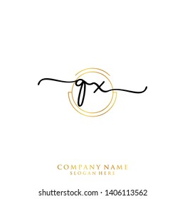 QX Initial handwriting logo template