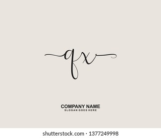 QX Initial handwriting logo vector
