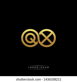 QX initial letter linked circle capital monogram logo modern template