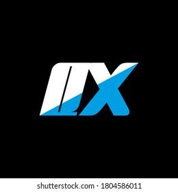 QX letter logo design on black background. QX creative initials letter logo concept. Q X icon design. QXwhite and blue letter icon design on black background. Q X, qx