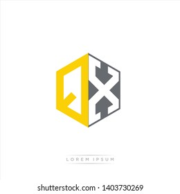 QX Logo Initial Monogram Negative Space Design Template With Yellow and Grey Color - Vector EPS 10