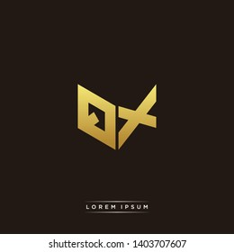 QX Logo Letter Initial Logo Designs Templete with Gold and Black Background