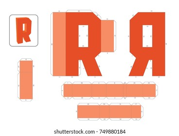 R Alphabet paper model template, cut out and glue with numbers marked into a 3d model.