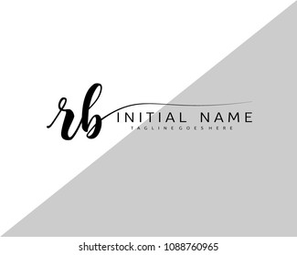 R B Initial handwriting logo vector. Hand lettering for designs.