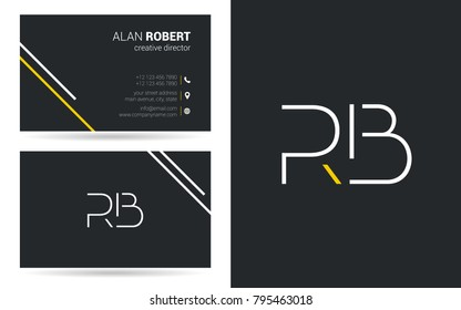 R & B joint logo stroke letter design with business card template