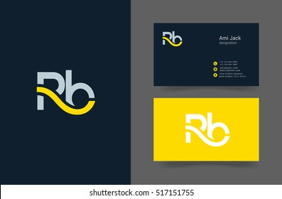 R & B Letter logo vector element with Business card template