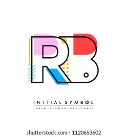 R B Memphis letter style, initial logo template vector full color.