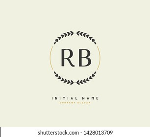 R B RB Beauty vector initial logo, handwriting logo of initial signature, wedding, fashion, jewerly, boutique, floral and botanical with creative template for any company or business.