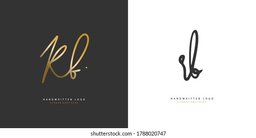 R B RB Initial handwriting or handwritten logo for identity. Logo with hand drawn style.