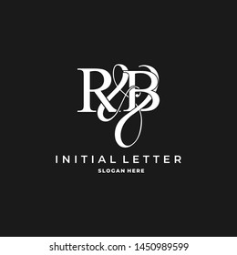 R & B / RB logo initial vector mark. Initial letter R and B RB logo luxury vector logo template.