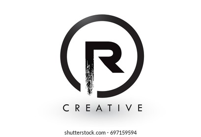 R Brush Letter Logo Design with Black Circle. Creative Brushed Letters Icon Logo.