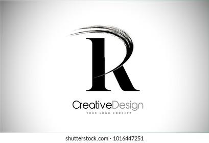 R Brush Stroke Letter Logo Design. Black Paint Logo Letter  Icon with Elegant Vector Design.