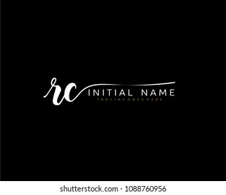R C Initial handwriting logo vector. Hand lettering for designs.