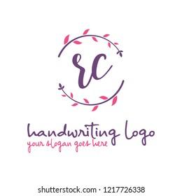 R C Initial handwriting logo vector