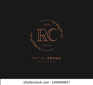 R C RC Beauty vector initial logo, handwriting logo of initial signature, wedding, fashion, jewerly, boutique, floral and botanical with creative template for any company or business.